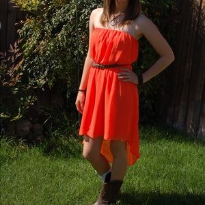 Orange High Low Dress